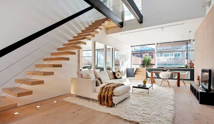 scari suspendate din lemn cu structura metalica