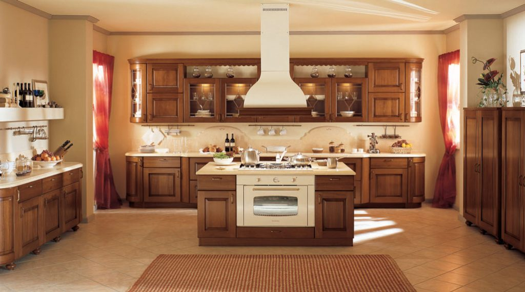 Amenajarea bucatariei casei in stil clasic